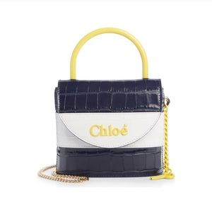 Chloe Small Aby Lock Croc Embossed Leather Bag